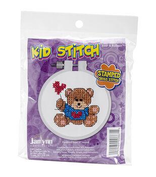 Janlynn® Kid Stitch Stamped Cross Stitch Kit-Bear & Balloon