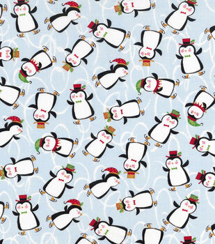 Christmas Cotton Fabric-Ice Skating Penguins