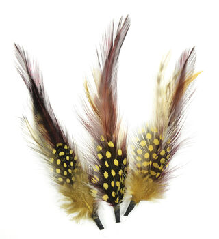 "Natural Feather Pick with nylon loop 4"" (10.2 cm) Gold, Wine, Natural, 3 pieces"