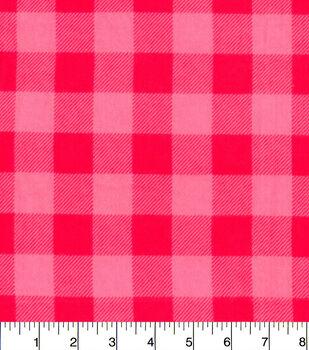 Snuggle Flannel Fabric-Pink Buffalo Check