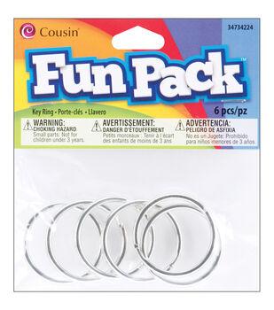 Fun Pack Key Ring 6/Pkg-Silver