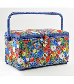 Fw21 Sew Basket Md Rect Blue Floral