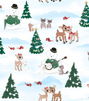 Christmas Cotton Fabric-Rudloph Scenic
