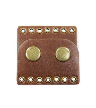 Blue Moon Findings Clasp Faux Leather Snap 7 Hole  Brown