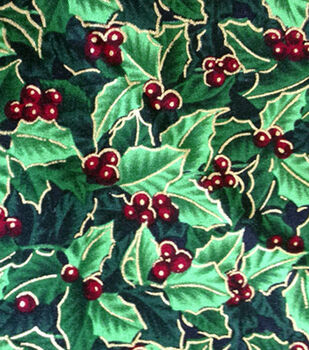 Holiday Inspirations Fabric-Christmas Holly Metallic