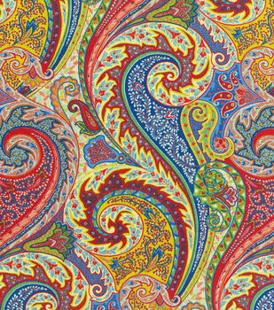 Home Decor 8''x 8'' Fabric Swatch Upholstery-Williamsburg Jaipur Paisley Jewel