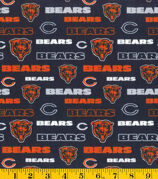 Chicago Bears NFL Glitter Cotton Fabric by Fabric Traditions