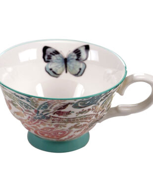 Susan Winget Tea Cup-Blue/White Butterfly Damask