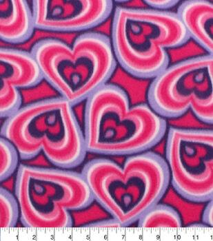 Blizzard Fleece Fabric-Pink Purple Hearts
