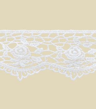 "1.5"" White Rose Lace Apparel Trim"