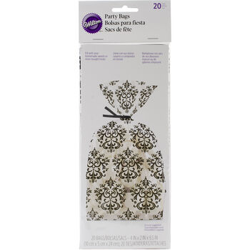 "Treat Bags-Black&White Damask 20/Pkg 4""X9.5"""