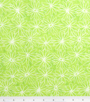 Keepsake Calico™ Cotton Fabric-Funky Florals Daisy Outline Lime, , hi-res