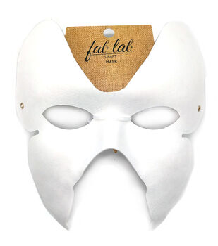 "Paper Butterfly Mask W/Elastic Cord 7""X6.5"" 1/Pkg-White"