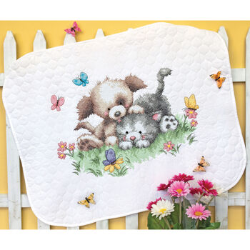 Dimensions Quilt Stamped Cross Stitch Kit Pet Friends Baby