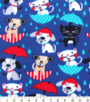 Blizzard Fleece Fabric-Raining Cats And Dogs