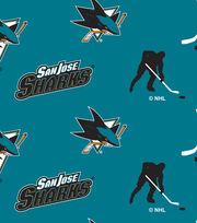 San Jose Sharks  NHL Tossed Print Fleece Fabric, , hi-res