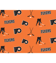 Philadelphia Flyers  NHL Tossed Print Fleece Fabric, , hi-res