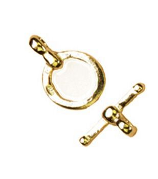 Cousin Gold Elegance Flattened Round Toggle-1 Set/14K Gold Plated