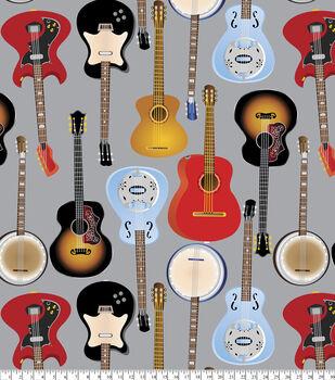 Anti-Pill Fleece Fabric-Rocking Guitars