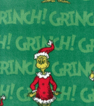 Holiday Inspirations Fabric-Christmas Grinch Fleece Green