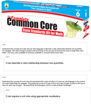 COMPLETE Common Core State Standards Kit for Math Grade 6