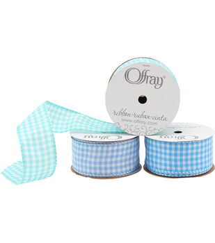 "Offray 1.5""x9' Gingham Check and Plaid Wired Edge Taffeta Ribbon"