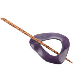 Wood Shawl Pin-Purple
