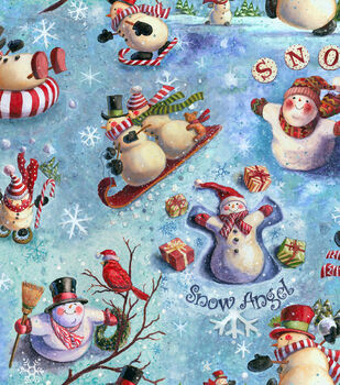 Holiday Inspirations Fabric-Snow Celebration with Glitter