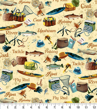 Snuggle Flannel Fabric 42''-Reel, Tackle & River