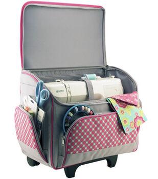 Sewing Room on Wheels 4 Piece Set with Bonus Sewing Kit-Pink/Grey