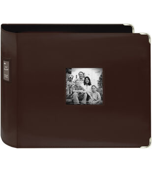 "Pioneer Sewn Leatherette 3-Ring Binder 12""X12""-Brown"