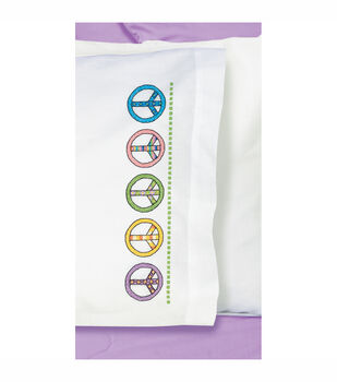 "Peace Sign Pillowcase Pair Stamped Cross Stitch-20""X30"""