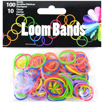 Loom Bands W/Clasps 100 Bands & 10 Clasps/Pkg-Primary Assortment