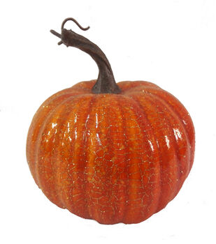 Blooming Autumn 6'' Crackle Pumpkin-Orange