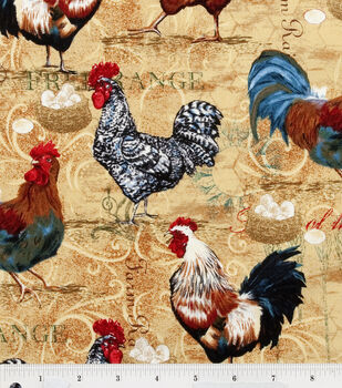 Novelty Cotton Fabric-Rooster Collage