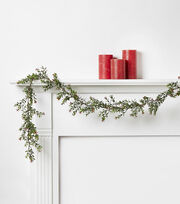 Blooming Holiday 66'' Snow Leaves Garland-Red & Green, , hi-res