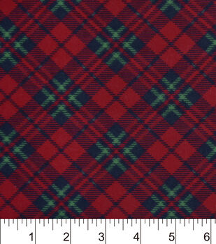 Snuggle Flannel Fabric-Black Red Green Plaid