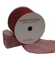 Maker's Holiday Mesh Ribbon With Glitter 4''x40'-Red, , hi-res