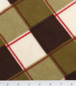 Anti Pill Fleece Fabric-Brown/Green Plaid