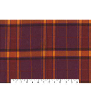 Harvest Cotton Fabric-Harvest Plaid Maroon