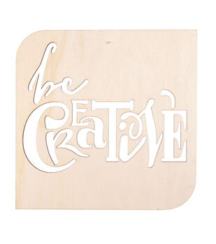 Laser Cut Wood Sign-Modern Square Be Creative