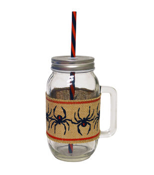 Glass Jar Burlap Band 24 oz Spiders