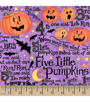 Halloween Cotton Fabric-Susan Winget Five Little Pumpkins