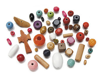 Wood Bead Mix, Assorted Colors, 1lb.