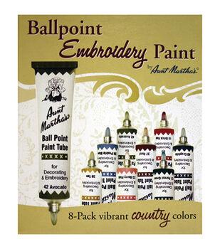 Aunt Martha's Ballpoint Paint Tubes 1 Ounce 8/Pkg- Country Colors