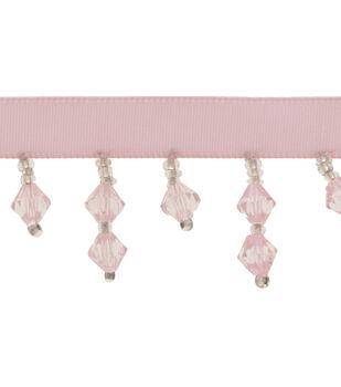 "1 1/8"" Light Pink Beaded Fringe Apparel Trim"
