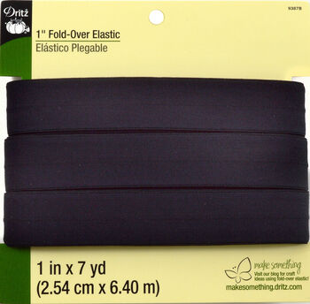 "Dritz 1"" Foldover Elastic Black 7 Yards"