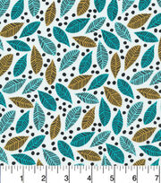 Cloud 9 Premium Cotton Fabric-Leaves Turq, , hi-res