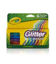 Crayola Glitter Markers 6/Pkg-, , hi-res