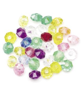 Faceted Rondells-Multicolors-Transparent